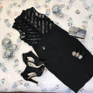 Wow Couture Black Body-Con Mesh Top Midi SzM